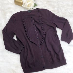 Ann Taylor Wool Silk Cashmere Plum Cardigan ::MM6